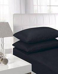 (Flat King, Black) - NIYS Luxury Bedding Flat 100% Egyptian Cotton Flat Sheet (Flat King, Black)