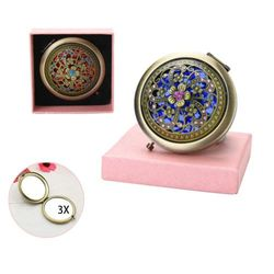 (D) - VintageBee Vintage Makeup Mirror Folding Pocket Mirror Round Compact Mirror Double-sided Hand Mirrors Mother's Day gift (D)