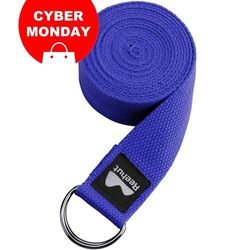 (Blue, 3m) - REEHUT D-Ring Buckle Yoga Strap 1.8M, 2.4M, 3M - Durable Polyester Cotton Adjustable Belts for Stretching, General Fitness, Flexibility and Physical Therapy - Includes Pose Guide E-book