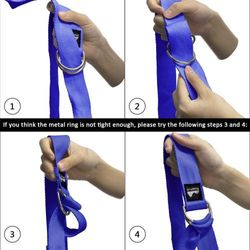 (Blue, 2.4m) - REEHUT D-Ring Buckle Yoga Strap 1.8M, 2.4M, 3M - Durable Polyester Cotton Adjustable Belts for Stretching, General Fitness, Flexibility and Physical Therapy - Includes Pose Guide E-book