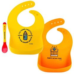 Lil Orso Baby Bibs and Plastic Spoon - Set of 2 Silicone Bibs for Infant Boy and Girl! Soft, Waterproof Drool Bib for Babies Feeding and Teething Or Toddler Spills!