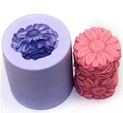 (Sunflower) - Great Mould Flower Sunflower Cylinder 3D Silicone Candle Mould for Candle Making DIY Silicone Handmade Soap Mould Art Craft Mould