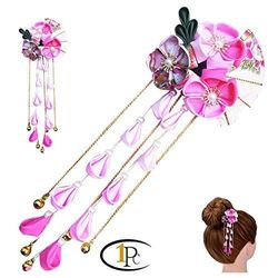 (H) - FINGER LOVE Womens Girls Japanese Hair Pin Decor Kanzashi Hair Sticks Picks Kimono Hanfu Accessories Japanese Flower Hair Tie Band Clip (H)