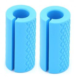 (Sky Blue) - Barbell Grips-Thick Bar Fat Grips for Weightlifting 2.5cm -Dumbbell Handles Stress Relieve Alpha Grip Hand Protector Pull up Tape Arm Blaster Adapter for Standard Hex/Bicep/Tricep/Threaded/Shrug Bars.