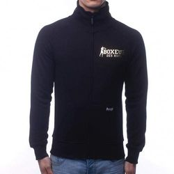 (XXX-Large, Black-Gold) - BOXEUR DES RUES Men's Bxe-4905h Sweatshirt with Zip and High Collar