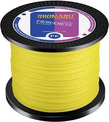 (1094 Yds/0.35mm(8 Strands)/23kg, Fluorescent Yellow) - RIKIMARU Braided Fishing Line Abrasion Resistant Superline Zero Stretch & Low Memory Extra Thin Diameter 327-1094 Yds, 1.8-80kg
