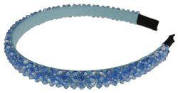 (Blue) - Ladies Luxury Beaded Crystal Encrusted Bridal Wedding Formal Event Aliceband Headband (Blue)