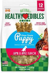 (12 Ct, Lamb & Apple, Medium: Up to 11kg) - Nylabone Healthy Edibles Puppy Natural Long Lasting Chew Treats Turkey & Sweet Potato Petite