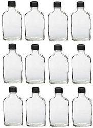 (12, 200 ml) - Nakpunar 12 pcs Glass Flask Bottles with Black Tamper Evident Cap - 200 ml