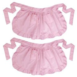 (Pink) - LilMents Twin Pack Retro Kitchen Ruffles Waist Apron with Pockets (Pink)