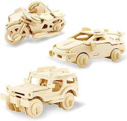 (Jeep+ferrari+motor Dreirad) - Georgie Porgy Woodcraft Construction Kits 3D Wooden Jigsaw Puzzle Wooden Model Kits for Kids Toys Age 5+ Pack of 3 (Jeep Ferrari Motor Dreirad)