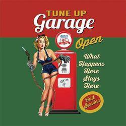 (9.5 x 9.5 cm (Melamine Coaster)) - RKO Tune Up Garage Open, Funny Pin-up Girl Vintage Pump Drinks Table Coaster