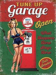 (30 x 20 cm) - RKO Tune Up Garage Open, Funny Pin-up Girl Vintage Pump Medium Metal/Steel Wall Sign