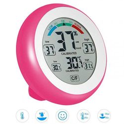 (Pink) - jiguoor Multifunctional ℃/℉ Digital Thermometer,Hygrometer,Temperature Humidity Metre-Max & Min Value Trend Display with Touch Screen for Indoor Room Greenhouse Office