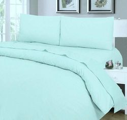 (Duck Egg, BUNK BED) - SleepyNights Duck Egg Blue Fitted Sheet Egyptian Cotton Hotel Quality Bunk Size Bed : Small Single 0.6m 6