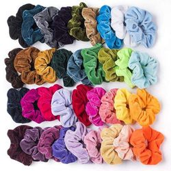 (Normal Size) - 60 Pcs Premium Velvet Hair Scrunchies Hair Bands for Women or Girls Hair Accessories with Gift Bag,Great Gift for Holiday Seasons