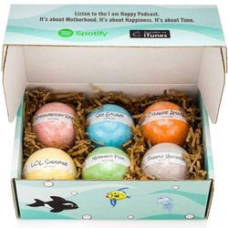 I am Happy Kids Bath Bombs with Surprise Inside: Sea Animal Toys Inside, Great Gift Set for Boys and Girls, Safe Ingredients That Don't Stain The Tub