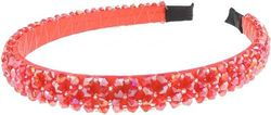 (Red) - Glamour Girlz Ladies Luxury Beaded Crystal Encrusted 1.5cm Bridal Wedding Formal Event Alice Band Headband (Red)