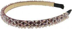 (Lilac) - Glamour Girlz Ladies Luxury Beaded Crystal Encrusted Bridal Wedding Formal Event Alice Band Headband (Lilac)