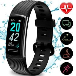 (Black) - Updated 2019 Version Fitness Trackers HR, Activity Trackers Health Exercise Watch with Heart Rate and Sleep Monitor, Smart Band Calorie Counter, Step Counter, Pedometer Walking for Men Women and Kids