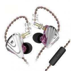 (With Microphone, Purple) - KINBOOFI KZ ZSX in Ear Monitor Earbuds, Hybrid 5BA 1DD KZ Earphone, KINBOOFI High Fidelity IEM with Zinc Alloy Faceplate and Detachable 2 Pin Cable (Purple with Mic)