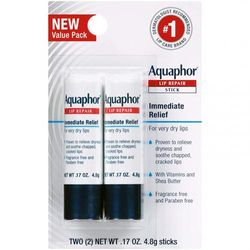 Aquaphor Lip Repair Stick - Soothes Dry Chapped Lips - Two(2) .500ml Sticks