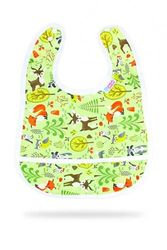 (Forest Animals) - Petit Lulu Bib | +3 Months | Crumb Pocket | Snap Closure | Reusable & Washable | Waterproof & Breathable | Made in Europe (Forest Animals)