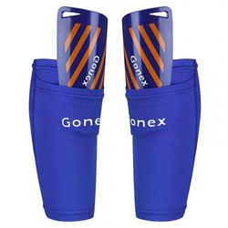 (XL, Blue Sleeves) - Gonex Shin Pads for Kids Adult, Football Shinguards Sleeves For Youth Boys Soccer Games with Socks,EVA Cushion
