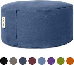 (Denim Blue) - Basaho WHEEL Zafu Meditation Cushion | Organic Cotton (GOTS Certified) | Buckwheat Hulls | Removable Washable Cover