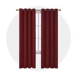 (5.1cm x 140cm x 270cm , Red) - Deconovo Blackout Curtains Super Soft Bedroom Curtains Thermal Insulated Energy Saving Curtains Kids Curtains for Door 140cm x 270cm Dark Red 1 Pair