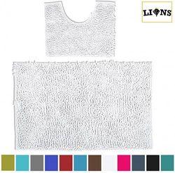 (White, Normal) - Lions Loop Bath Pedestal Mat 2 Piece Set Washable Bathroom Toilet Mats (White, Normal)