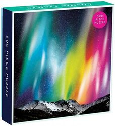 (Cosmic Lights) - Galison Cosmic Lights 500 Piece Jigsaw Puzzle for Families and Adults, Outer Space Family Puzzle with Rainbow Aurora and Mountain Backdrop
