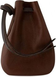 (Medium, Brown) - Leather Drawstring Pouch, Coin Bag, Medicine Tobacco Pouch, Mediaeval Reenactment, Made in U.S.A. by Nabob Leather (Medium, Brown)