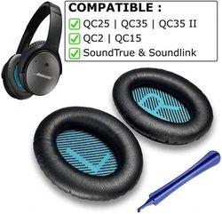 (QC25 | QC35 | QC15 | QC2, Black) - Replacement Ear Pads for Bose QC25 Compatible Bose QC25 Replacement Ear Pads Made by Earpad Guys - Compatible with QC25 QC35 QC2 QC15 Ae2 Ae2i Ae2w SoundTrue & SoundLink Ear Cushion [Black/Blue]