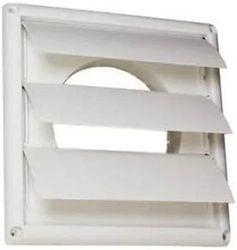 (15cm ) - Deflecto Supurr-Vent Louvred Outdoor Dryer Vent Cover, 15cm Hood, White (HS6W)