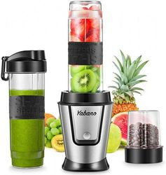 Personal Blender with 2 x 590ml Travel Bottle and Coffee/Spices Jar, Portable Smoothie Blender and Coffee Grinder in One, 500W Single Serve Blender for Shakes and Smoothies, BPA free, by Yabano