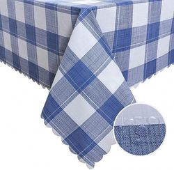 (140cm x 300cm , Blue) - Hiasan Chequered PVC Rectangle Tablecloth 100% Waterproof Spillproof Stain Resistant Wipeable Vinyl Table Cloth for Outdoor Picnic Kitchen Dining, 140cm x 300cm , Blue