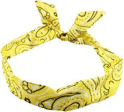 (Yellow) - Yellow Paisley Wire Headband Headscarf Rockabily