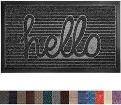 (90cm x 60cm , Charcoal Hello) - Gorilla Grip Original Durable Rubber Door Mat, 35x23, Heavy Duty Doormat for Indoor Outdoor, Waterproof, Easy Clean, Low-Profile Rug Mats for Entry, Patio, High Traffic Areas, Charcoal Hello