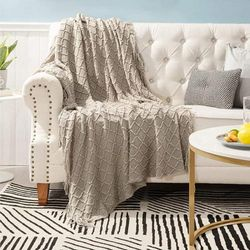 (Throw, Beige) - Bedsure 100% Acrylic Knit Throw Blanket, 50×150cm - Soft Warm Cosy Lightweight Decorative Blanket with Tassels for Couch, Bed, Sofa, Travel - All Seasons Suitable for Women, Men and Kids (Beige)