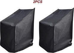 """(70cm WX34"""" DX45"""" H, Black) - acoveritt Black Series - 2pcs Waterproof Heavy Duty Stackable-Chair Patio Cover (70cm WX34 DX45 H)"""