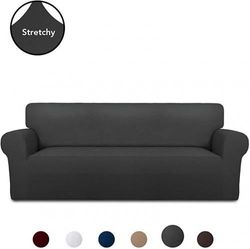 (Large, Dark Gray) - PureFit Super Stretch Chair Sofa Slipcover – Spandex Non Slip Soft Couch Sofa Cover, Washable Furniture Protector with Non Skid Foam and Elastic Bottom for Kids, Pets (Sofa, Dark Grey)