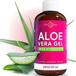 (240ml) - Aloe Vera Gel 100% Pure - Organic Maximum Hydration for Face, Skin and Hair from Plant Juice - Soothing Lotion Oil for After Sun Relief - Bulk 240ml size Cold Pressed - Made In USA