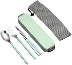 (Chopsticks fork spoon set, Green) - YBOBK HOME Portable Flatware Set with Case Stainless Steel Chopsticks Fork and Spoon Reusable Flatware Set Dishwasher Safe Utensils with Coloured Handle for To Go Anywhere (Green)