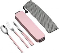 (Chopsticks fork spoon set, Pink) - YBOBK HOME Portable Flatware Set with Case Stainless Steel Chopsticks Fork and Spoon Reusable Flatware Set Dishwasher Safe Utensils with Coloured Handle for To Go Anywhere (Pink)