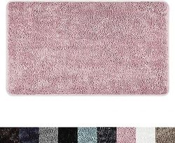 (70cm x 110cm Bath Mat, Blush) - SoHome Spa Step Luxury Chenille Bath Mat 26x44, Super Absorbent and Extra Soft Shag Bath Rug, Perfect Plush Carpet Mat for Children's Tub, Shower and Bathroom, Blush