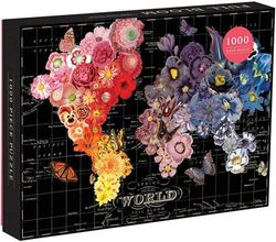(Full Bloom Map, Jigsaw Puzzle) - Galison Full Bloom World Map Puzzle
