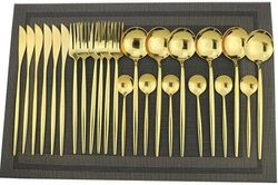 (Service For 6, Gold) - Gugrida 24-Piece Silverware Set - 18/10 Stainless Steel Reusable Utensils Forks Spoons Knives Set, Mirror Polished Cutlery Flatware Set, Great for Family Gatherings & Daily Use (6 set, Gold)