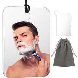 Shower Mirror Shave Mirror Lightweight Hanging Mirror with Stainless Steel Pocket Mirror, Rope and Bag, 6.8 x 5.2 Inch/ 17.3 x 13.2 cm