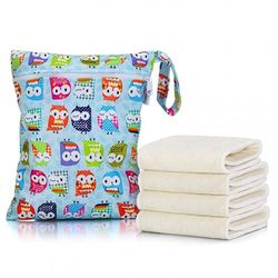 Luxja Cloth Nappy Inserts (4 Pcs Cloth Nappy Liners + 1 Storage Bag), 5 Layers of Bamboo Inserts